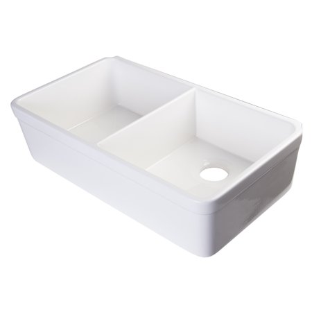 Deep Fireclay Sink - ALFI Brand AB512 Double Bowl Fireclay Farmhouse Apron Kitchen Sink