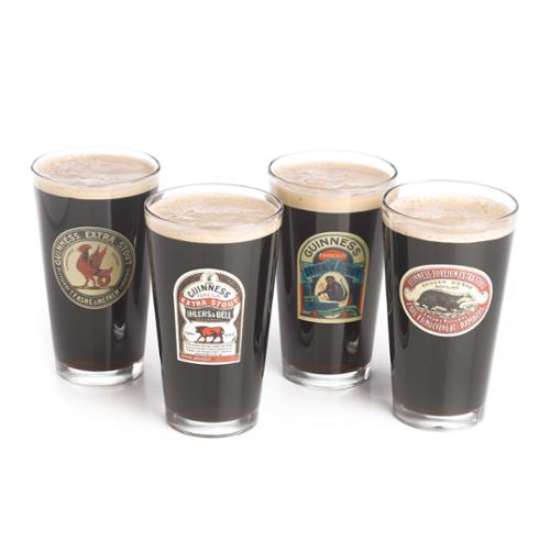Guinness Assorted 16 oz. Vintage Ad Pub Pint Beer Glass, Set of 4