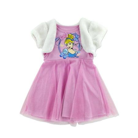 Disney Princess Little Girls Pink Tulle Cinderella Dress with Faux Fur Cape  - Size - 5 - Girls Disney Princess Dresses