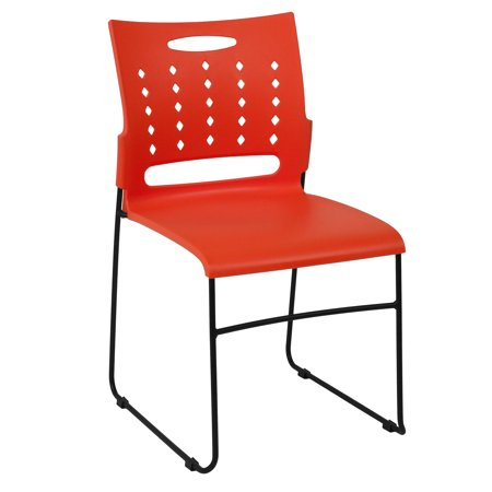 Flash Furniture HERCULES Series 881 lb. Capacity Orange Sled Base Stack Chair with Air-Vent Back ()