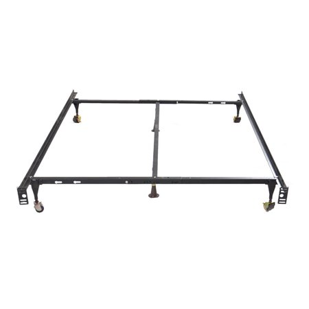 ghp black iron twin full queen size adjustable bed frame with wheels center support. Black Bedroom Furniture Sets. Home Design Ideas