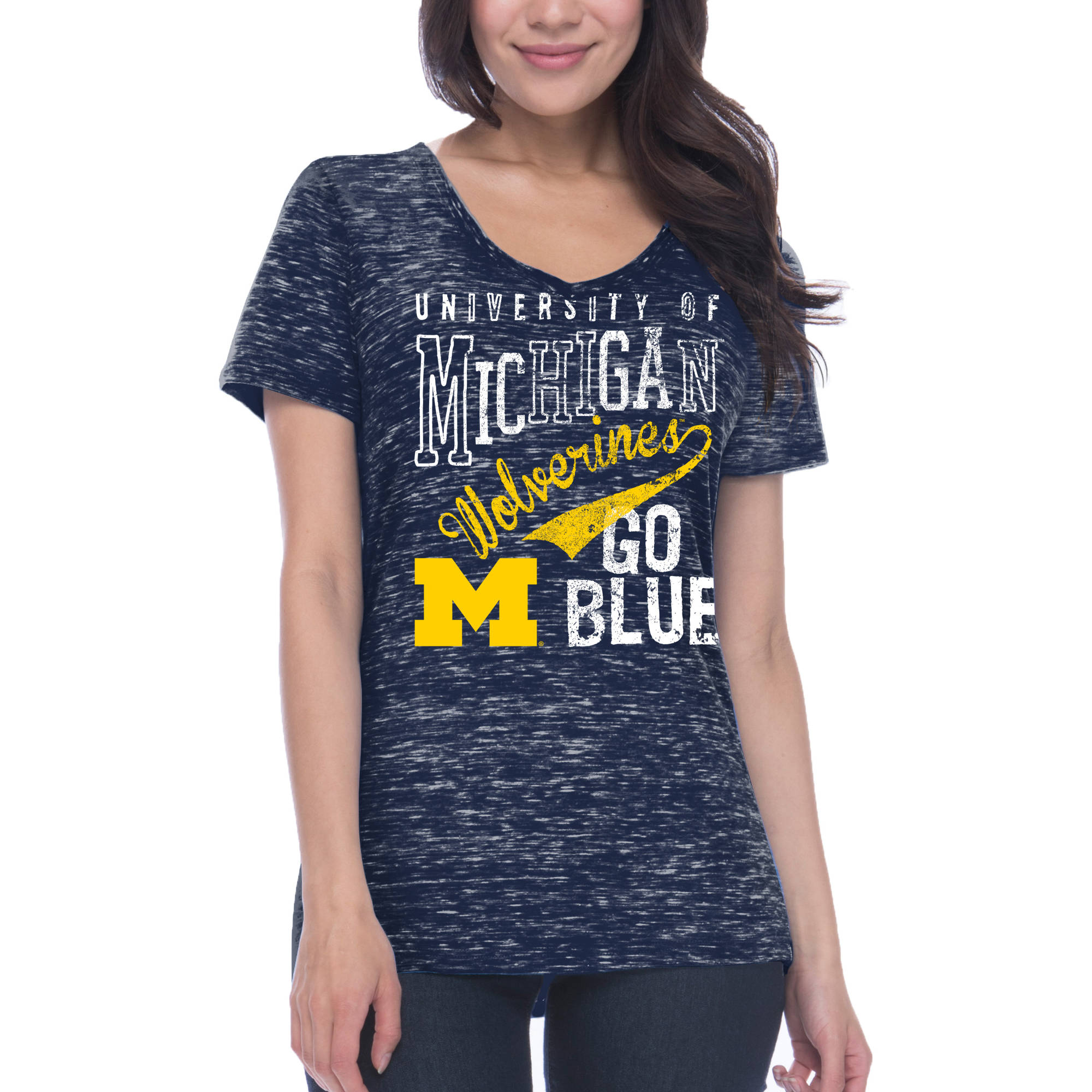 NCAA Michigan Wolverines Women's Junior Fit Short Sleeve V Neck T-shirt