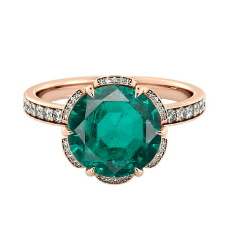 Diamond Mine - 14K Rose Gold 2 ctw Lab Created Green Emerald