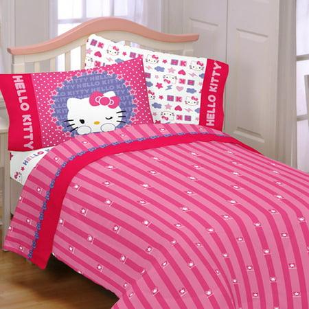 0934c3bda Hello Kitty Microfiber Kitty & Me Bedding Sheet Set - Walmart.com