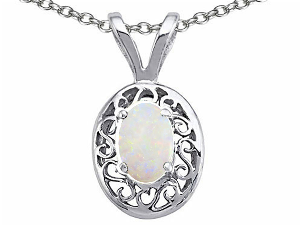 Tommaso Design Oval 5x3mm Genuine Opal Pendant Necklace by
