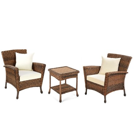 W Unlimited Rustic Collection Outdoor Faux Sea Grass Garden Patio Furniture 3PC set w/ Table ()