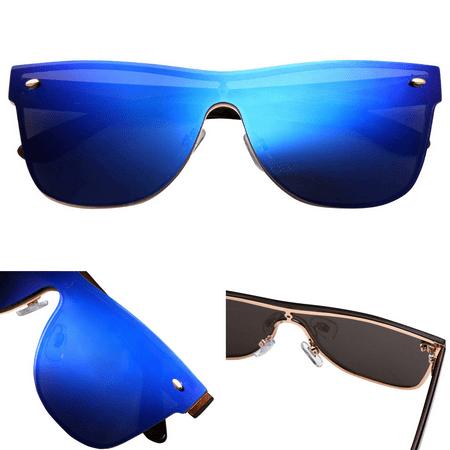 Oversized  Fashion Sun Glasses  - Revo Flat Lens for Easy, Lightweight Performance Sunwear  - 100% UV and UVB Protection  - For Men and (Performance Sunglasses)