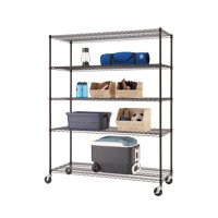 "TRINITY Basics 60""W x 24""D x 72""H 5-Shelf NSF Wire Shelving Rack With Casters, 2250 lb Capacity, Black"
