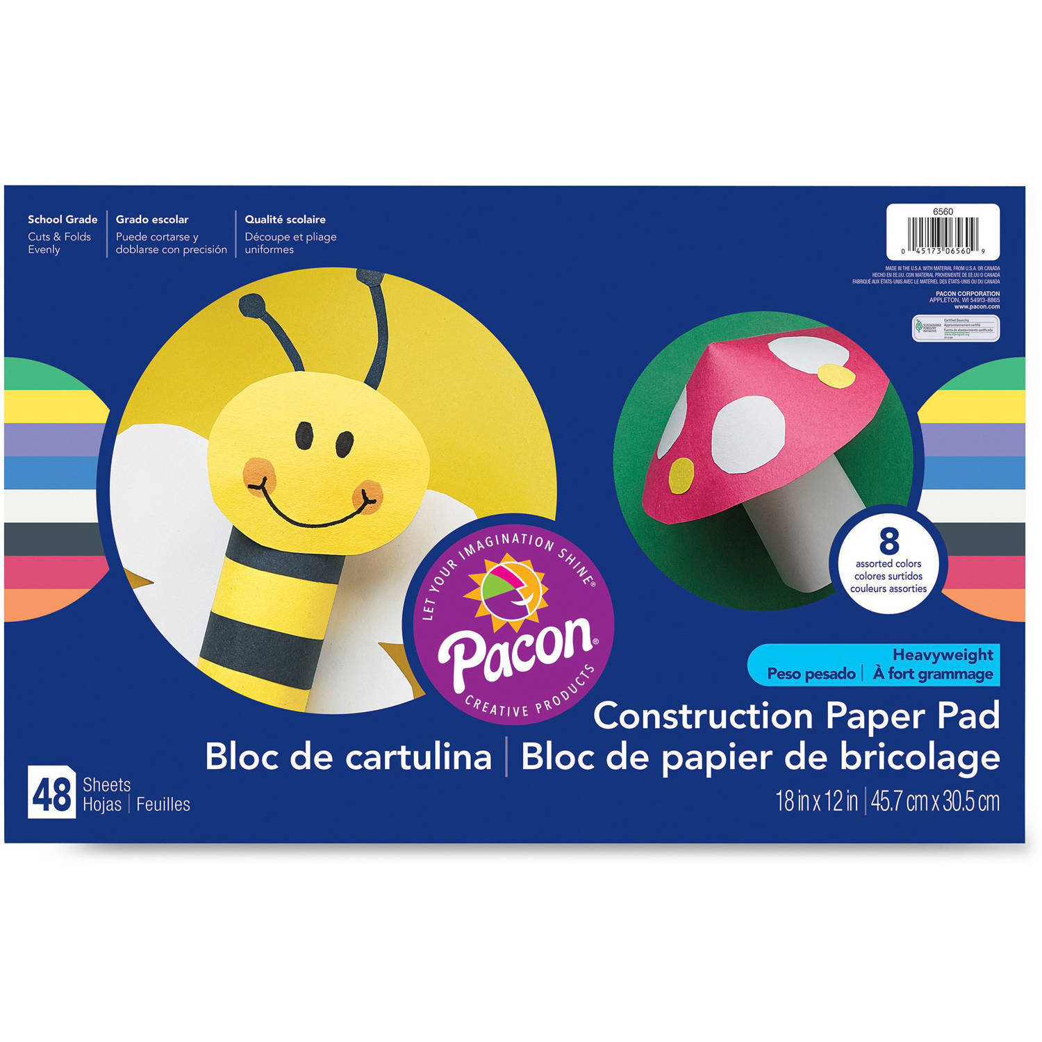"Pacon® Construction Paper, 8 Assorted Colors, 12"" x 18"", 48 Sheets"