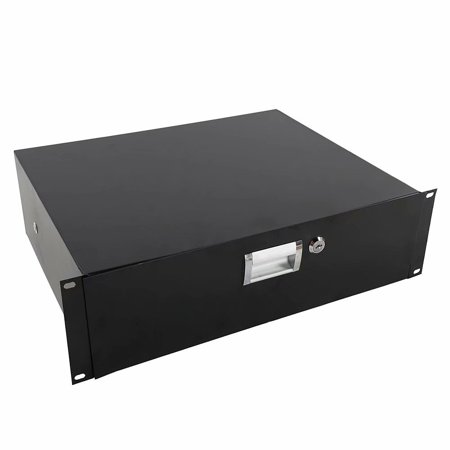 """Rack Mount Drawer 3U with Steel Faceplate, with Lock and Key, for 19"""" Equipment Server AV DJ Cabinets Racks ()"""