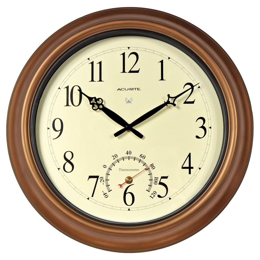 18-inch Atomic Metal Copper Outdoor Clock with Thermometer - Walmart.com