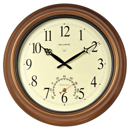 18-inch Atomic Metal Copper Outdoor Clock with Thermometer