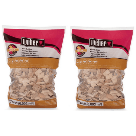 (2 pack) Weber Pecan Wood Chips, 192 Cu. In. bag