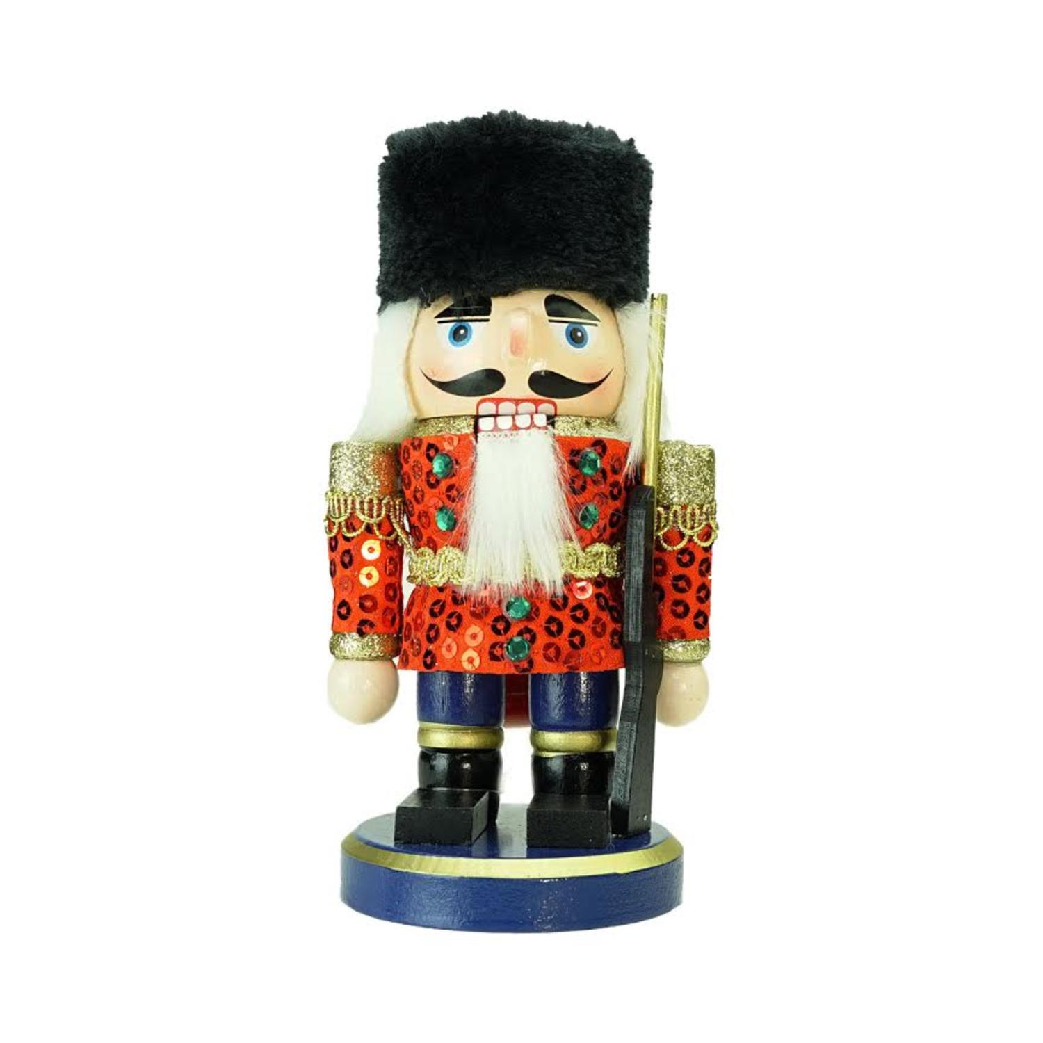 "7"" Red, Gold and Black Chubby Wooden Christmas Nutcracker Soldier"