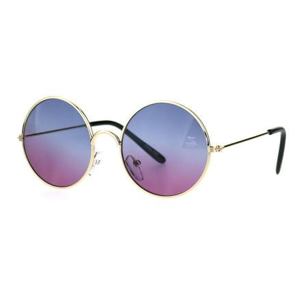 Kids Child Size Hippie Round Circle Lens Tie Dye Gradient Metal Sunglasses Blue (Brown Gradient Lens)