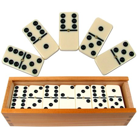 Dominoes Set- 28 Piece Double-Six Ivory Domino Tiles Set, Classic Numbers Table Game with Wooden Carrying/Storage Case by Hey! Play! (2-4 Players), STURDY.., By Hey