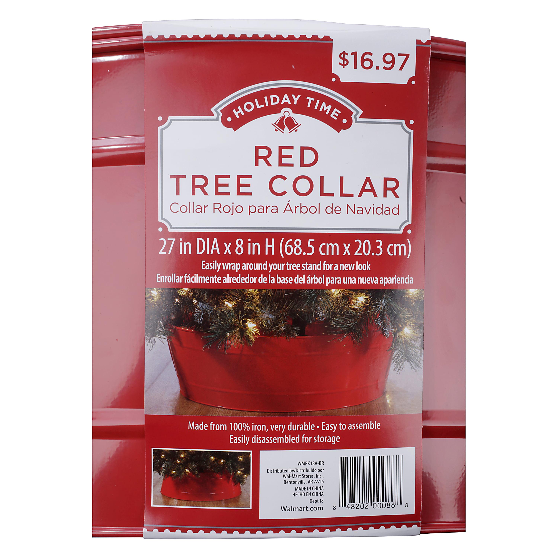 Holiday Time Red Christmas Tree Collar Walmart Com Walmart Com