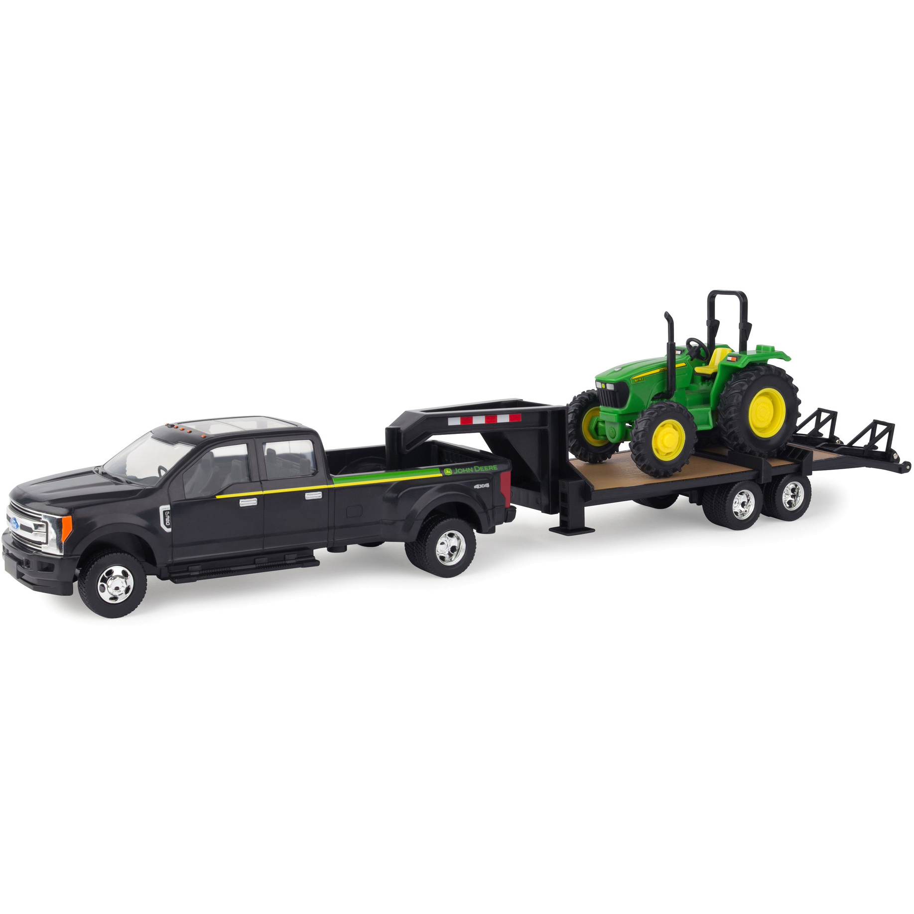 1:32 2017 Ford F350 with Gooseneck and John Deere 1:32 5075E Tractor by TOMY