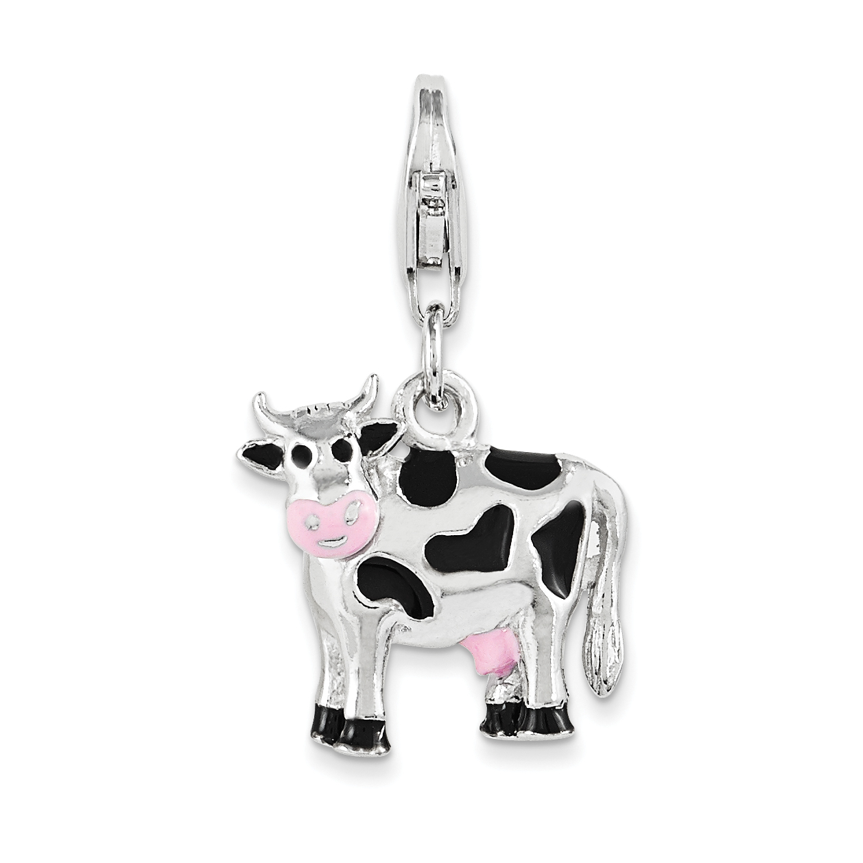 925 Sterling Silver Rhodium-plated Polished and Enameled 3D Cow Charm