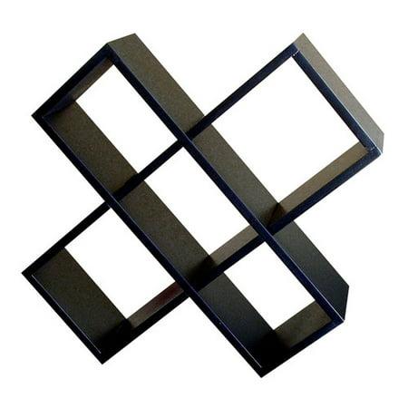 Contemporary Criss-Cross Media Wall Storage in Black Finish