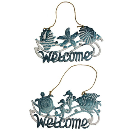 Fish Seahorse Shells Starfish Sealife Welcome Wall Plaques 14 Inches Set of 2