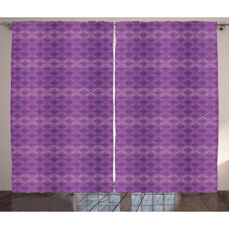 Vintage Curtains 2 Panels Set, Damask Style Repetitive Rococo Pattern Old Fashioned in Purple Shades, Window Drapes for Living Room Bedroom, 108W X 63L Inches, Violet and Dark Purple, by Ambesonne