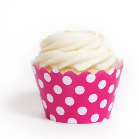 Dress My Cupcake Fuchsia Polka Dot Cupcake Wrappers, Set of 12 - Polka Dots Cupcakes