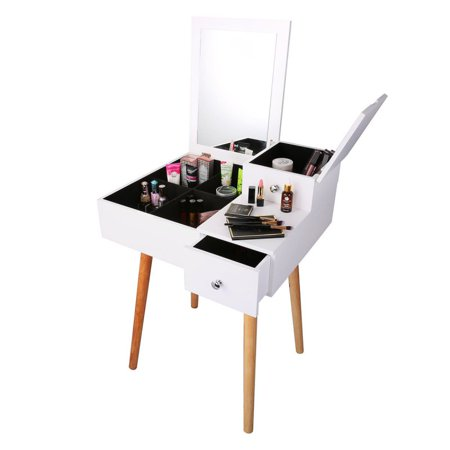 - Sawpy Vanity Set And 2 Sliding Drawers, Removable Makeup Organizer for Brushes Nail Polishes, Easy Assembly, White Dressing Table with Mirror