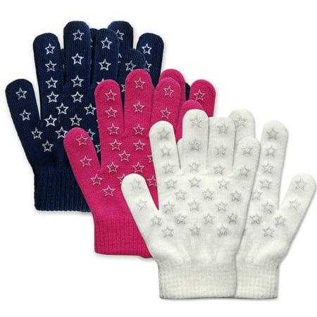 EvridWear Boys Girls Magic Stretch Gripper Gloves 3 Pair Pack Assortment, Kids Winter Warm Gloves Children (3 Pairs Star Printing) thumbnail