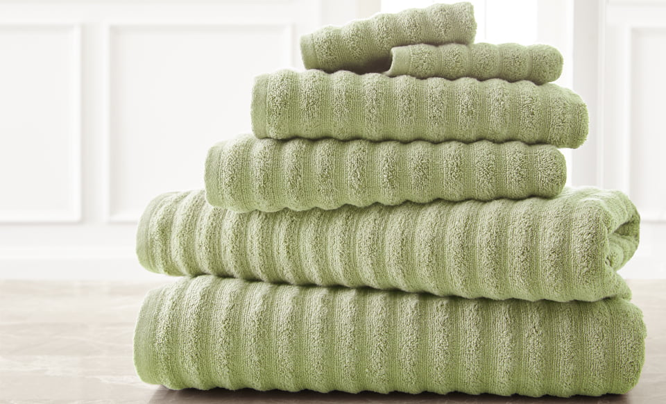 Wavy Luxury Spa Collection 6 Piece Quick Dry Towel Set Sage by Supplier Generic