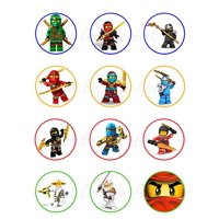 Ninjago Lego Edible Cupcake Toppers (12 Images) Cake Image Icing Sugar Sheet Edible Cake Images Edible Images for Cupcakes