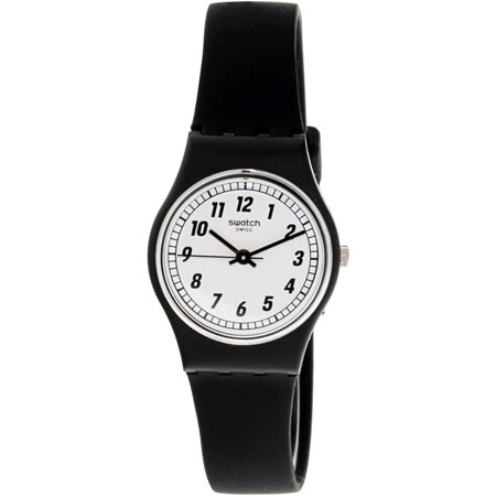 Swatch Women's Something Black LB184 Silicone Swiss Quartz Fashion - 57w Quartz Sleeve