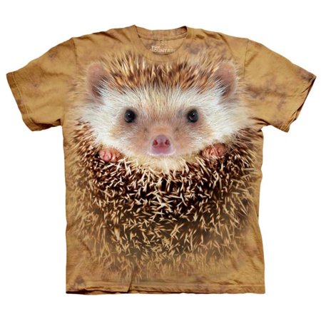 The Mountain Adult Orange 100% Cotton Big Face Hedgehog T-Shirt NEW