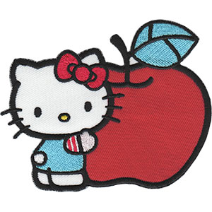 "HELLO KITTY APPLE, Officially Licensed, Iron-On / Sew-On, Embroidered PATCH - 3.3"" x 4"""