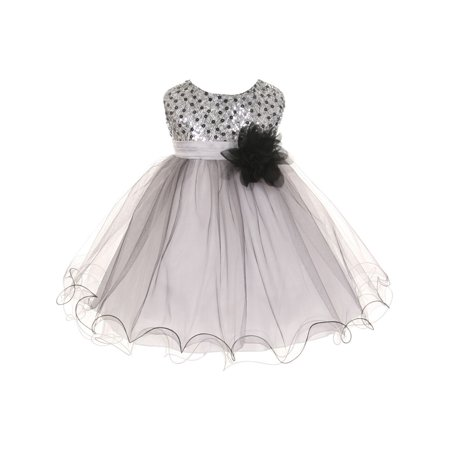 Kids Dream Baby Girls Silver Multi Sequin Tulle Special Occasion Dress 12M