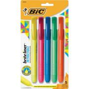 BIC Brite Liner Retractable Highlighter, Chisel Tip, Assorted Colors, 5-Count