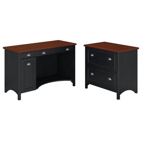 - Stanford Computer Desk with 2 Drawer Lateral File Cabinet in Black