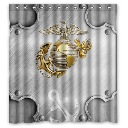 DEYOU Usmc Marine Corps Metal Pattern And Anchor Shower Curtain Polyester Fabric Bathroom Size