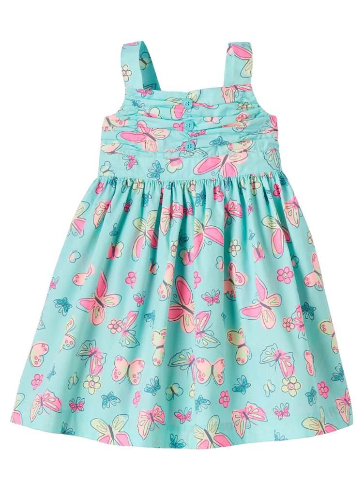 Nannette Infant Toddler Girls Blue Butterfly Print Dress Sleeveless Sundress
