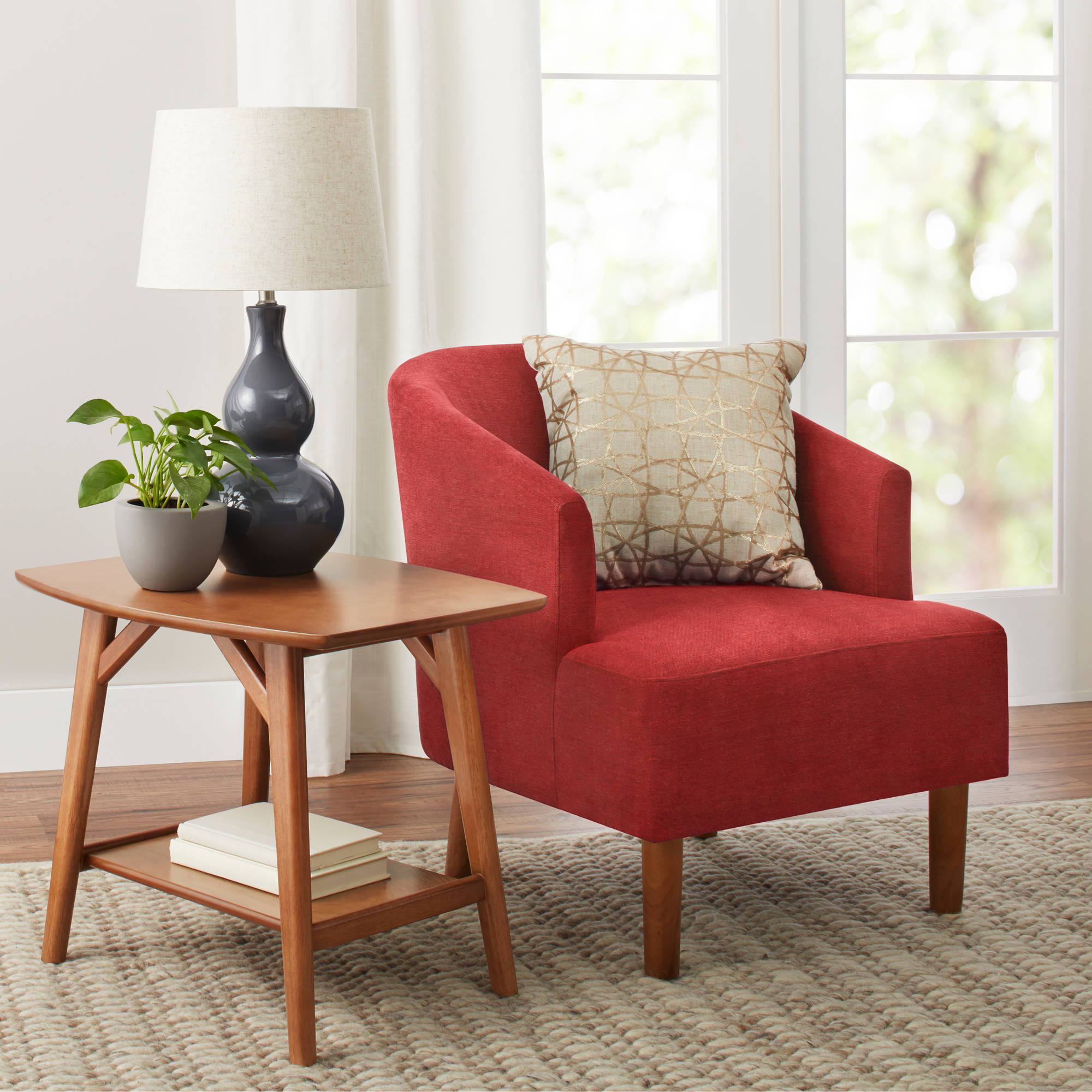 Better Homes and Gardens Reed Mid Century Modern Accent Chair, Tomato by