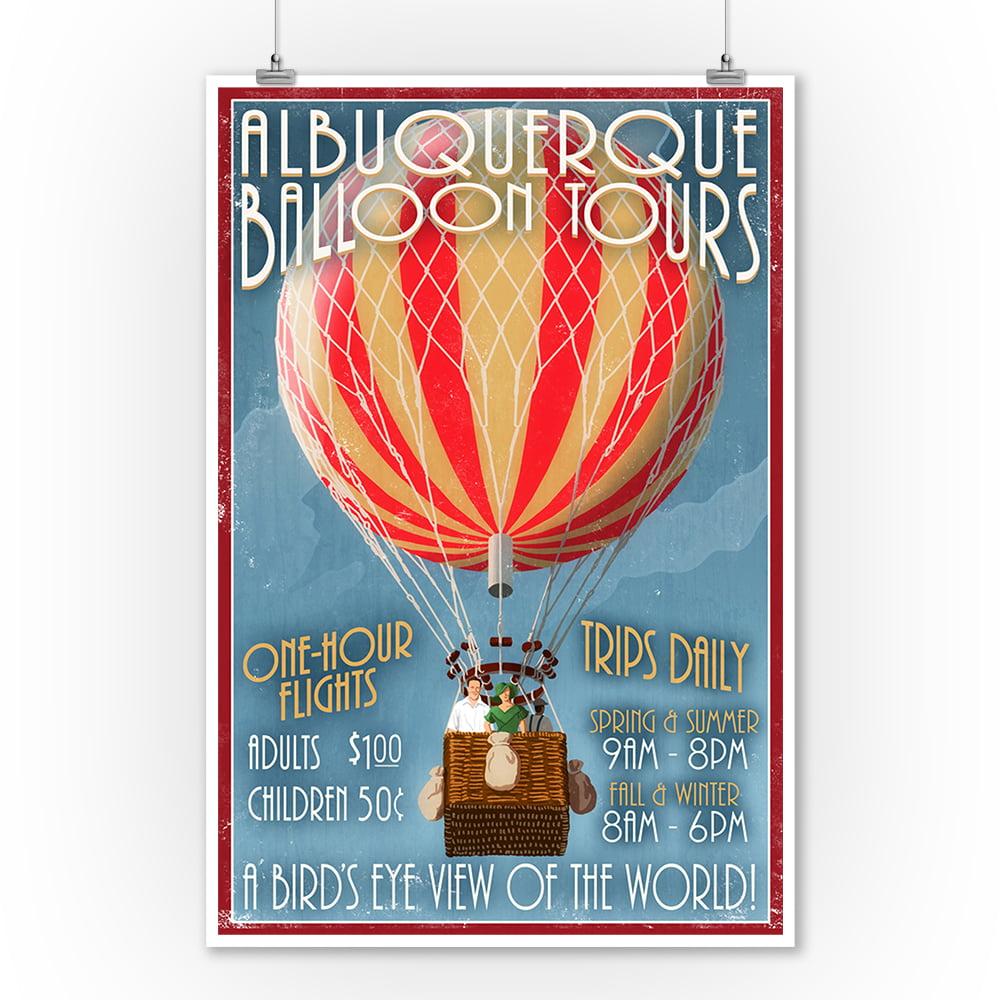 Albuquerque, New Mexico - Hot Air Balloon Tours - Vintage Sign - Lantern Press Artwork (9x12 Art Print, Wall Decor Travel Poster)
