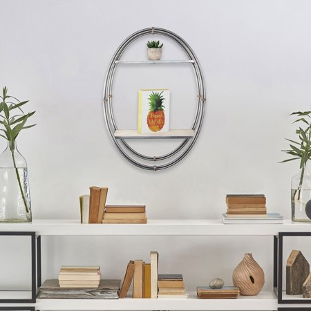 American Art Decor Wood & Metal Oval Hanging Wall Shelf & Rack