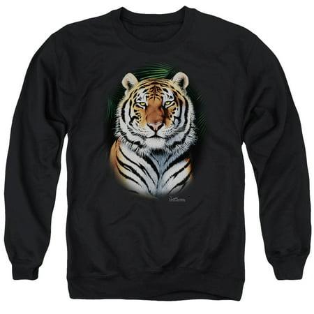 Siberian Tiger Sweatshirt - Wildlife Nature Jungle Leaves Majestic Bengal Tiger Adult Crewneck Sweatshirt