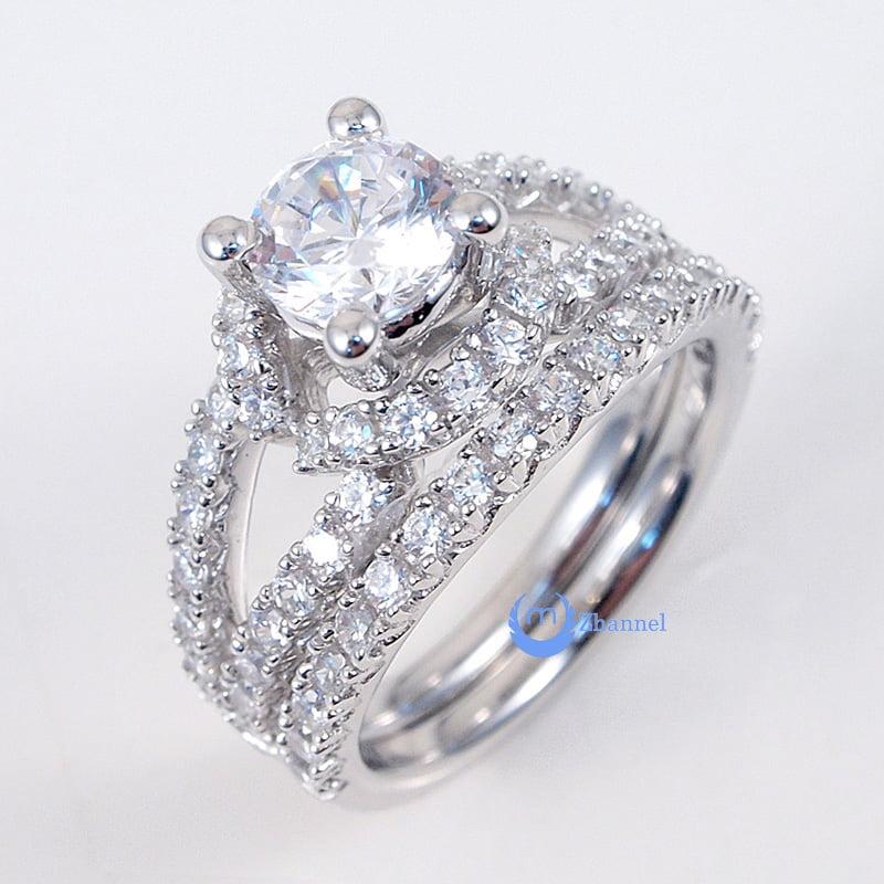 125ct Engagement Wedding Set 2 RINGS Signity CZ PaveProng Set