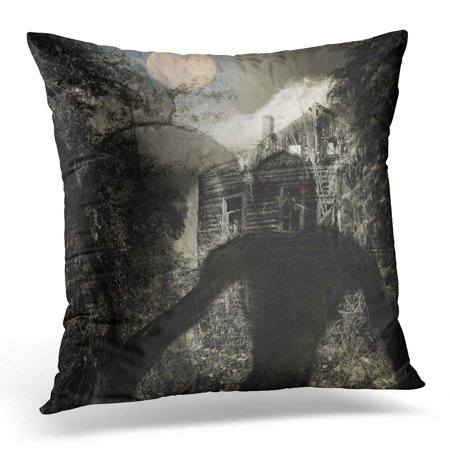 ECCOT Black Advertise Full Moon Over The Wooden Creepy House Evil Creatures Above Grunge Dark Halloween Pillowcase Pillow Cover Cushion Case 16x16 inch](Halloween Advertising Quotes)