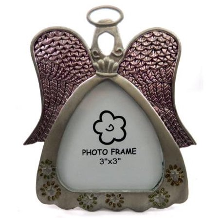 Picture frame shaped as an angel with purple accent pain on the wings PF87