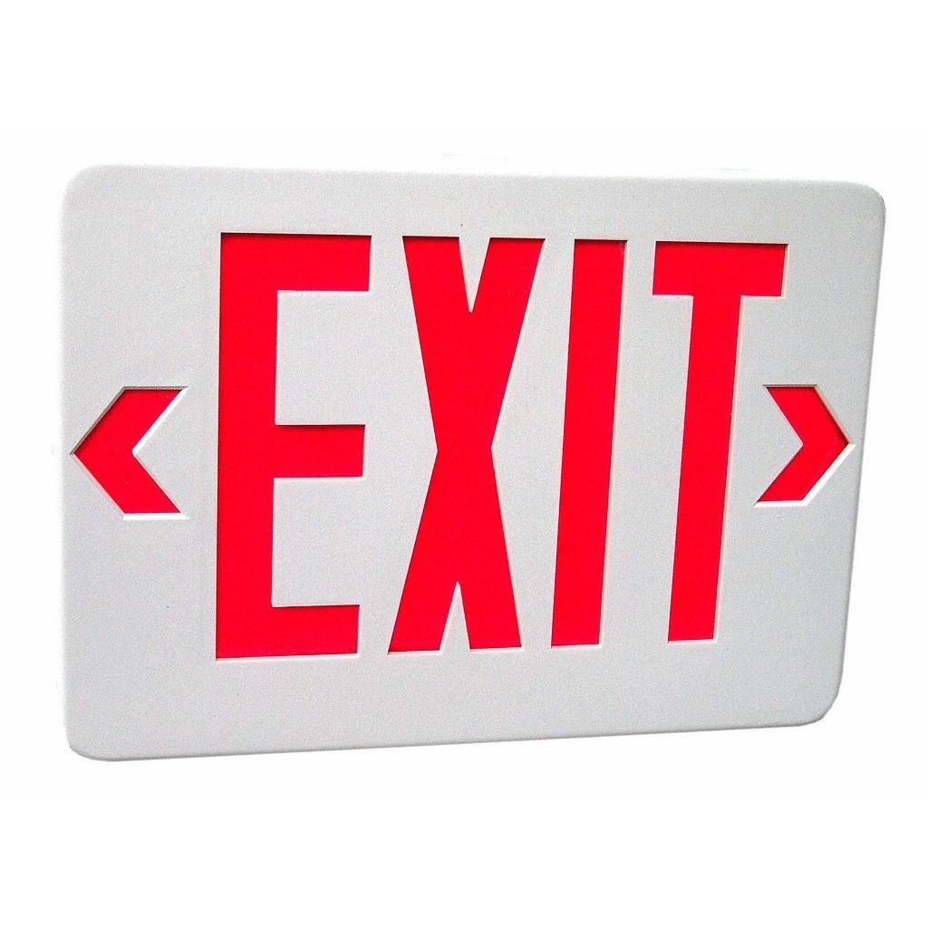 Morris 73012 - 120/277 volt White / Red LED Exit Sign with Battery Backup