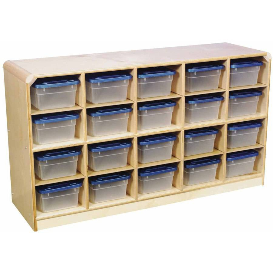 "Korners For Kids, Mobile Cubby, 20-Tray Capacity, 47.75"" x 13"" x 30"", Birch"