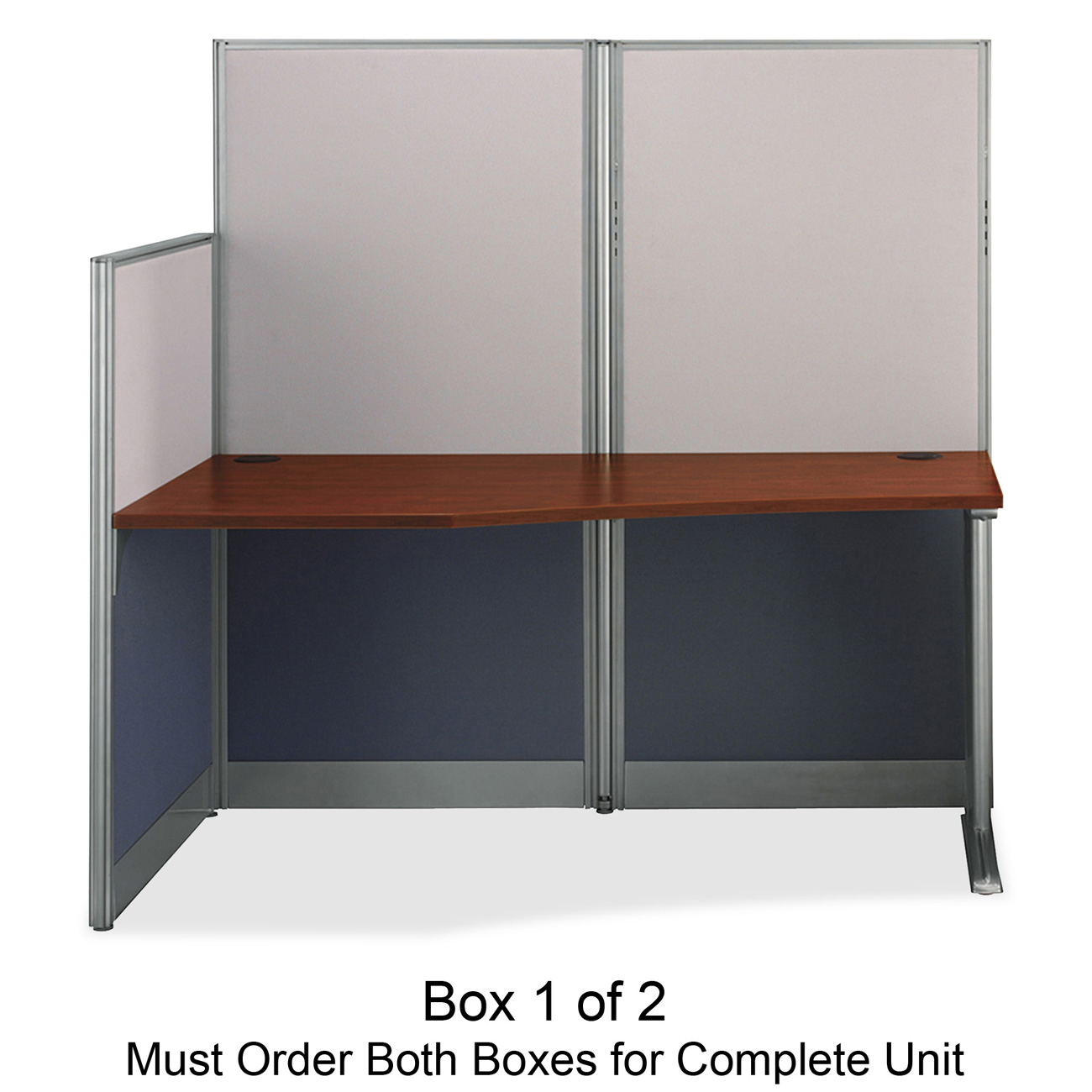 "bbf Office in an Hour Straight Workstation by Bush Furniture - 63"" Height x 64.5"" Width x 32.3"" Depth - Hansen Cherry - Melamine Top, Thermofused"