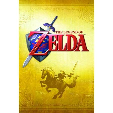 The Legend Of Zelda Gold Nintendo Fantasy Video Game Series Link Epona Sword Shield Poster - 24x36 - Link Shield